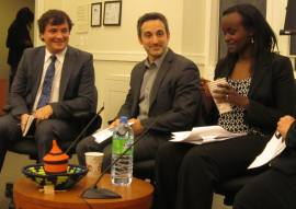 From left: Tibi Galis, Jonathan Schienberg, and Jacqueline Murekatete at New York University.